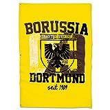 Borussia Dortmund Stadtwappen Hissfahne/Fahne/Flagge/Flag groß 150 x 100 cm BVB 09 - Plus gratis Aufkleber Forever Dortmund