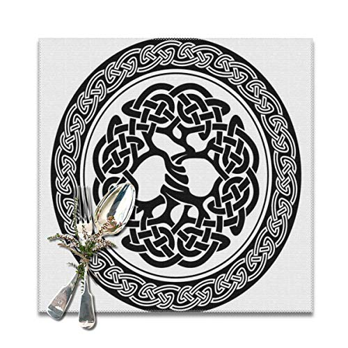 Pallowa Native Celtic Tree of Life Figure In Ireland Early Renaissance Artsy Modern Design Theme Placemats for Dining Table,Washable Placemat Set of 4, 12x12 Inch