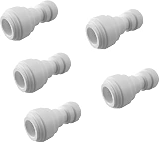 PureSec 2019 Push to Connect 1/4-inch 3/8-inch Plastic Straight Union Quick Fittings for RODI System (5, 1/4