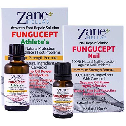 Zane Hellas FunguCept Combo. FunguCept Nail 0.33 fl.oz. y FunguCept Athlete's 1fl.oz.-30ml. Solución de uñas fúngicas y solución para pies fúngicos