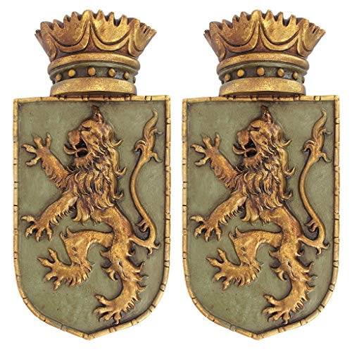 Design Toscano Medieval Rampant Lion Crest Medieval Decor Wall Sculpture - Set of Two, 14 Inch, Polyresin, Full Color