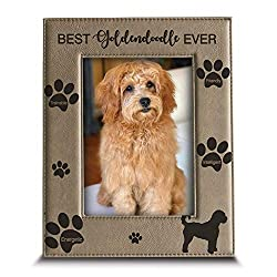 BELLA BUSTA - Best Goldendoodle Ever-Dog Fotorahmen, Hunde-Liebhaber, Geschenk, gravierter Leder-Bilderrahmen (12,7 x 17,8 cm)