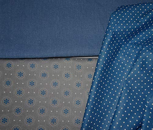 Stoffpaket für Dirndlkleid + Schürze grau/blau