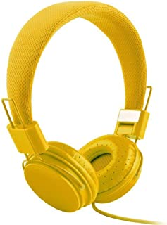 Docooler Wired On-ear Headphone Kids Headset with Mic 3.5mm AUX In-line Foldable & Portable High-fidelity DJ Headset Suitable for Laptop Smart Phones MP3 Yellow