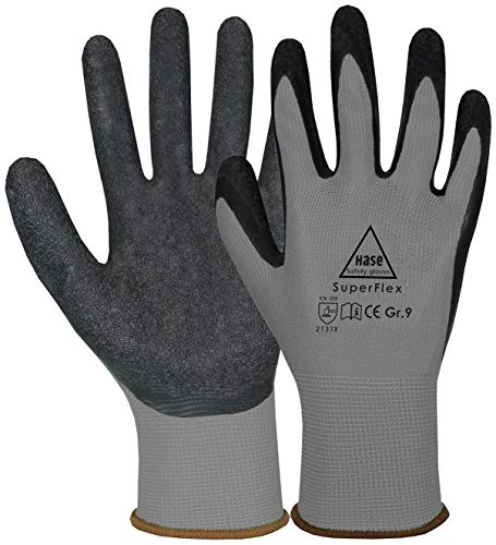 10 Paar Hase Superflex Arbeitshandschuhe - Schutz-Handschuhe für die Arbeit - EN 388/420 - Grau/Schwarz - 08/M