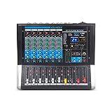 AFYH Mesas de Mezclas de Estudio, Mezclador de Audio de 6 Canales, Tarjeta de Sonido de Control de DJ de Audio con 24 DSP, Efecto USB, Conector XLR Bluetooth,mezcladores en Vivo