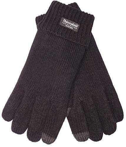 EEM Herren Strick Handschuhe LASSE-IP mit Touch-Funktion und Thinsulate Thermofutter aus Polyester, Strickmaterial aus 100% Wolle, smartphone; schwarz, M