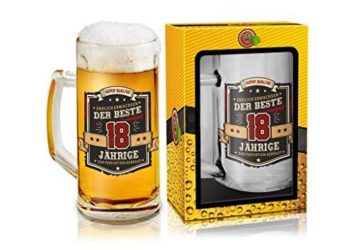 Abc Casa Bierkrug 0,5l mit Aufschrift zum 18. Geburtstag für alle Biertrinker – Aufschrift Der Beste 18 Jährige – originell verwendbares Geschenk für 18-Jährige im Geschenkbox