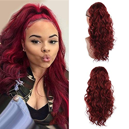 KRSI 24Inch Drawstring Ponytail Extension Body Wave Ponytail Hair Extension Synthetic Loose Wave Ponytail Hair Pieces for Women