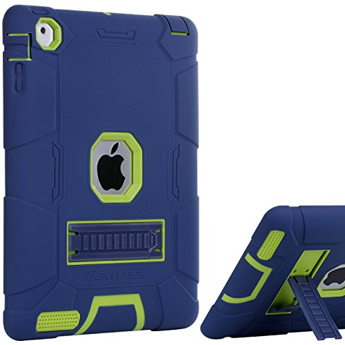 iPad 4 Case, iPad 2 Case, iPad 3 Case, BENTOBEN Kickstand Full-body 3 IN 1 Soft&Hard Protective Heavy Duty Rugged Shockproof Drop Resistance Anti-slip Cover for Apple iPad 2/3/4 Retina,Navy Blue/Green