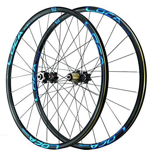 MTB Fahrradrad 26 27,5 29 Zoll Scheibenbremse Fahrradradsatz 24 Sprach for 8-12 Geschwindigkeit Kassettenschwungrad QR Abgedichtete Lagernaben 1850g (Color : Blue, Size : 27.5in)