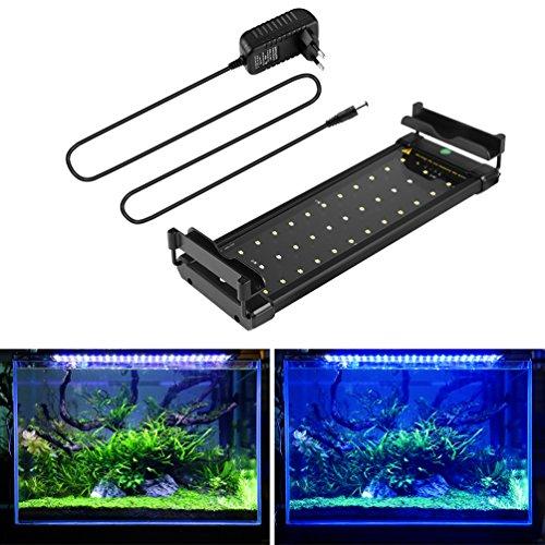 BELLALICHT Aquarium LED Beleuchtung, Aquariumbeleuchtung Lampe Weiß Blau Licht 6W mit Verstellbarer Halterung für 30cm-45cm Aquarium