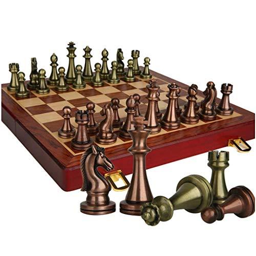 Juego de ajedrez Juego de ajedrez Retro Regalo Viaje Juego de ajedrez Internacional Plegable Tablero de ajedrez de Madera portátil Piezas de ajedrez de Metal Ajedre