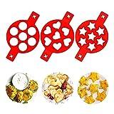 Feliciay Lot de 3 moules à pancakes anti-adhésifs réutilisables en silicone pour œufs au plat 7 cavités Rouge