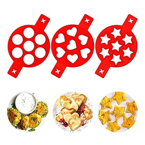 Feliciay - Stampo per pancake e uova fritte, antiaderente, riutilizzabile, in silicone, 7 cavità, per fritture, muffin, pancake o uova fritte, stampo per uova fritte, facile fai da te (rosso)