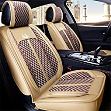 West Leathers 5 Car Seat Covers Full Set with Waterproof Faux Leather Universal Fit for Sedan SUV Truck Auto Interior Accessories (Beige, Full Set)