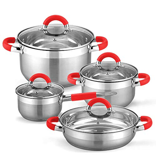 Gridinlux | Batería de Cocina Elite Chef Munich | 8 Piezas | 4 Tapas de Vidrio Templado | Acero Inoxidable con Encapsulado Reforzado | Base Multisuperficie (Rojo)