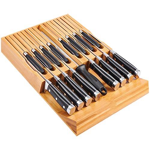 Utoplike Messerbänke Schubladeneinsätze Bambus Messerblock Organizer und Halterung, Passform für 16 Messer und 1 Wetzstahl, Messerblock ohne Messer für die Küche, Unbestückte, 44 x 29 x 4.5 cm