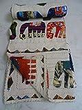 Tribal Asian Textiles Colcha con diseño de elefante de Kantha india, colcha de estilo kantha, funda de cama reversible, 156 x 222 cm.