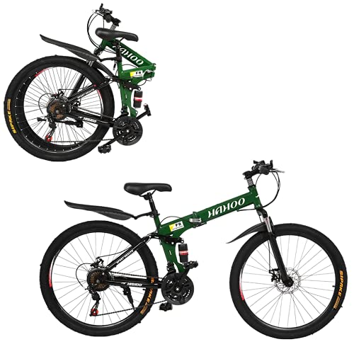 26in Folding Mountain Bike for Men & Women, 2021 New Outdoor Sport Bicycle with Carbon Steel and 21 Speed Bicycle MTB Bike,K-Type Shock-Absorbing Double Disc Brake (US Delivery) (Green)