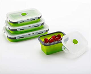 Camping Silicone Food Storage Container, Collapsible Vegetable Fruit Container Storage Cabinet Silicone Food Storage Lunch Box 3 Set Microwave Safe Container (Green)