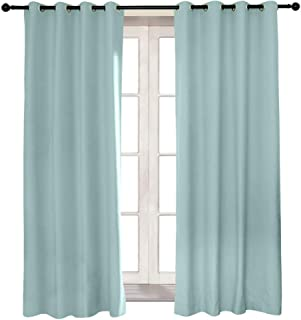 AQJD 100% Full Blackout Velvet Curtains Gromment Top Sound Reducing Heavy Weight 2 Panels in One Set (Teal, 50x96 inch)