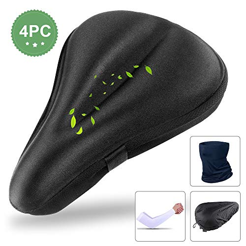 Soft Bike Seat Cover Bicycle Saddles for Men Women, Shock Absorbing Breathable Protective Bike Cover for Cycling Bicycle Stationary Mountain Bike with Waterproof Dust Resistant Cover and Cycling Kit