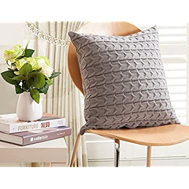 iSunShine Cotton Cushion Cover Cable Knitting Patterns Pillowcase, Pillow Cover only, Gray