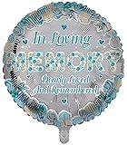 Globos de papel de aluminio de lujo en forma redonda de recuerdo de color azul, globos funerarios, globos de aluminio para mesa de memoria, conmemoración, condolencia, aniversario