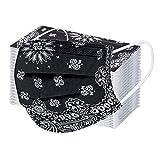 10/20/50/100PC Unisex Bufanda Protectora para Adultos - Moda Universal Bonita Floral Print 3 Capas Suave Elástico Earloop Bufanda para Mujeres Hombres -21203-10
