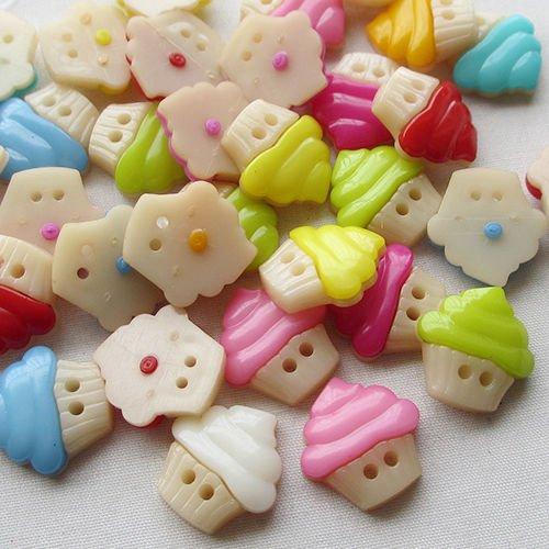 chenkou Crfat New 100 Ice Crème boutons en plastique 16 mm à coudre Craft 2 trous