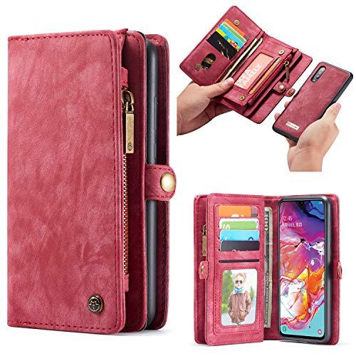 Simicoo Samsung A70 Leder Wallet Schutzhülle 11 Kartenfächer Reißverschluss Abnehmbare Brieftasche Magnetverschluss Robuste Filp Tasche Handyhülle für Samsung A70 (A70, Red)