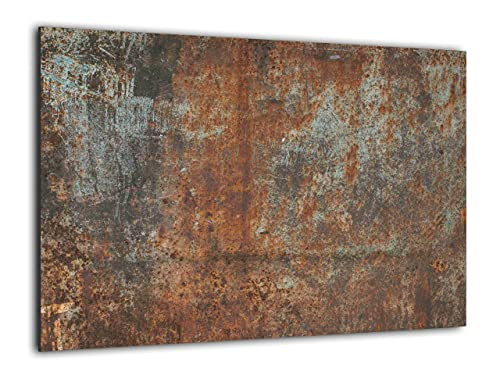 ALLboards Lavagna in Vetro Magnetica Scrivibile 90x60cm con Stampa RUGGINE Memoboard Decorazione Quadro