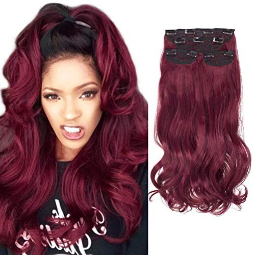 DOCUTE Dark Wine Red Thick Hair Extensions Clip In For Black Women 4 Pieces, 22 Inch Burgundy Full Head Curly Wavy Clip In On Hair Extensions Body Wave Classic Hair Pieces For Diy (Burgundy -curly)
