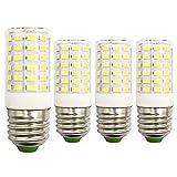 LED E26 Edison Bulb 6500K Super Bright Daylight White 7W 100Watt 90W 80W Halogen Equivalent 1000LM 100V-265V Non-Dimmable E27 Candelabra Light Lamp - 4 Pack