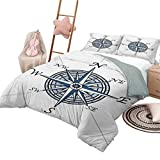 Juego de edredón para sofá cama Compass Suave para todas las estaciones Colcha de mezcla de algodón Color del mar Viaje temático Windrose Discovery Diseño marino Obra de arte Tamaño King Azul Azul pál