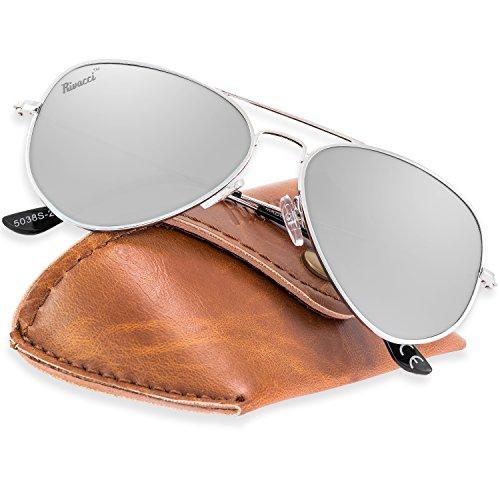 Rivacci Gafas de Sol Aviador Hombre Mujer Polarizadas - Marca Retro/Vintage – Lentes Piloto Deportivas Espejadas - Plata/Espejo Plateada Polarizado