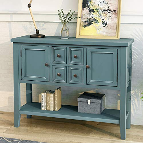 P PURLOVE Console Table Buffet Sideboard Sofa Table with Storage Drawers Cabinets and Bottom Shelf (Dark Blue)