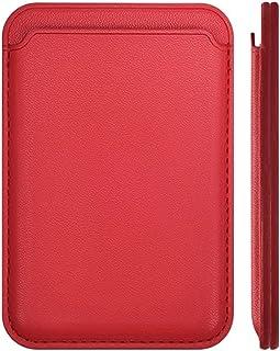 محفظة كروت جلد مغناطيسية ماج سيف بتقنية RFID للتثبيت بموبايل ايفون 12 / Pro/ MAX/ Mini - احمر