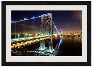 George Washington Bridge NYC - Art Print Wall Black Wood Grain Framed Picture(16x12inch)