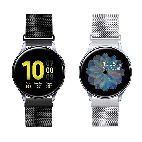 20mm Correa de Reloj de Malla Acero Inoxidable para Samsung Galaxy Watch 42mm/Active2 44mm 40mm /Gear Sport/Gear S2 Classic/Garmin Vivoactive 3, Correa Metal Deporte Bandas Repuesto (20mm,Negro+Plata)