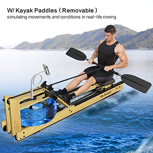 Best Deals! Mr Rudolf Oak Wood Water Rowing Machine with Monitor W/Bonus Rowing Machine Cover W/Bonu...