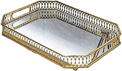 gongxi Bandeja Decorativa con Espejo De Tocador De Cristal con Bandeja Decorativa, Bandeja Decorativa Adornada para Perfumes, Joyas, Velas Y Maquillaje-Rectangle