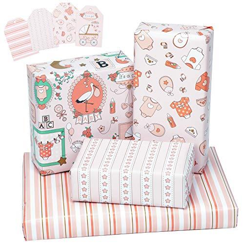 RUSPEPA Hoja De Papel Para Envolver Con Etiquetas De Regalo - Doblado En Plano - 4 Diseños Diferentes De Babyshower Para Niña - (30,1 Pies Cuadrados) - 70 cm X 1 m Por Hoja