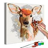 murando - Malen nach Zahlen Hirsch REH 40x40 cm Malset mit Holzrahmen auf Leinwand für Erwachsene Kinder Gemälde Handgemalt Kit DIY Geschenk Dekoration n-A-0363-d-a