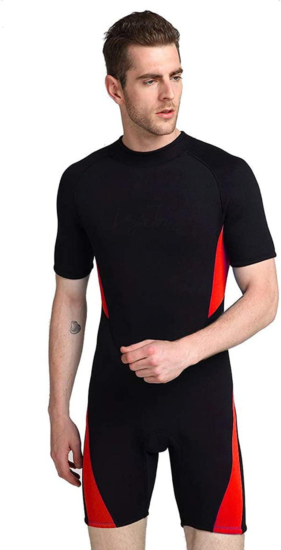 EMEIJIA Mens 3MM Wetsuit Shorty Suit, Neopren Wassersport Neoprenanzüge - Ideal zum Kajakfahren, Tauchen,rot,M