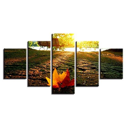 WMWSH Creative Wandkunst Modulare Bilder Wohnkultur Ahorn Stuhl Landschaft 5 Stücke Gemälde Wohnzimmer Leinwandbilder Vlies Leinwand Wandbild Wohnzimmer Wanddekoration