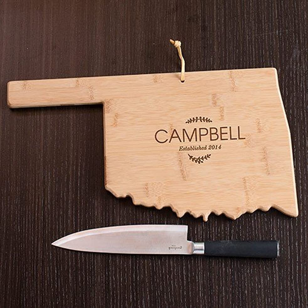 Personalized Family Name Oklahoma State Cutting Board, 12