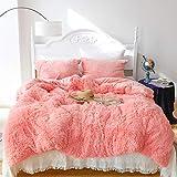 Shaggy Fluffy Duvet Cover Set Queen Size, Luxury Plush Warm Fuzzy Flannel Bedding Set, 3 Pieces Cozy Faux Fur Comforter Cover Set, 1 Duvet Cover + 2 Pillow Shams, Zipper Closure, Pink