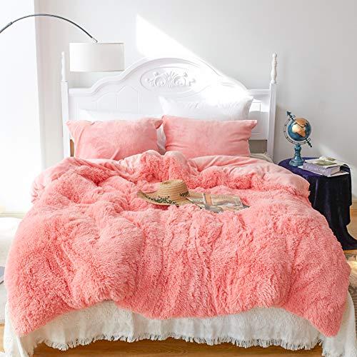 CHOSHOME Kunstfell-Samt flauschige Bettwäsche Set Daunendecke Steppdecke mit Kissenbezügen Shaggy Decke Queen Pink 3-teilig